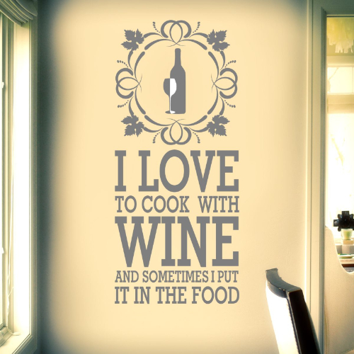Cook With Wine Wall Sticker