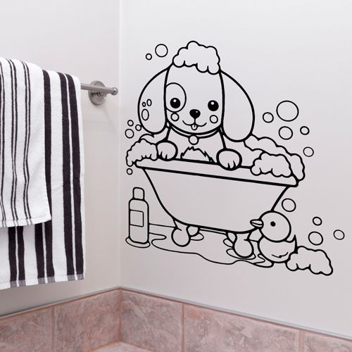 Cute Dog In Bath Wall Sticker