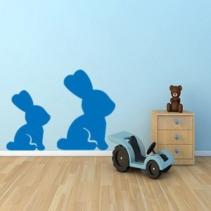 Two Cute Bunny Wall Stickers