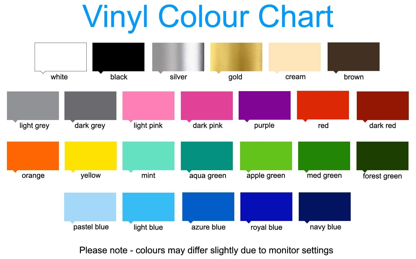 Colour chart for vinyl stickers