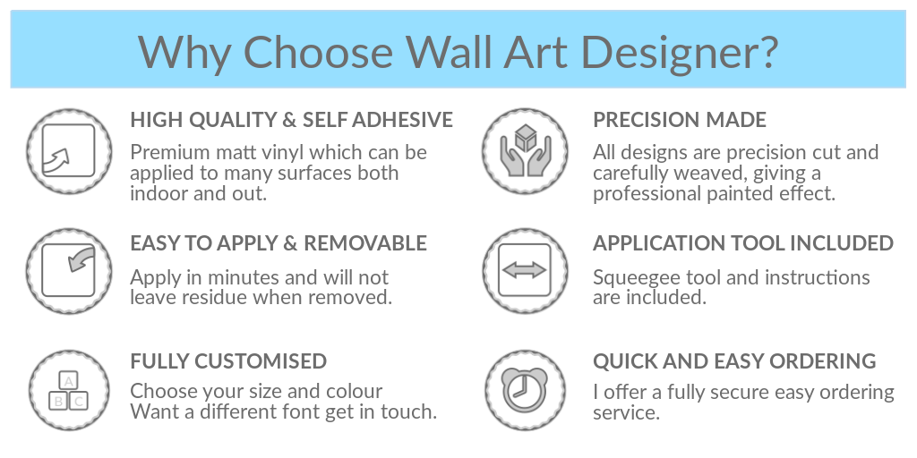 Why choose Wall Art Designer? High Quality & Self Adhesive, Precision Made, Easy to Apply and Remove